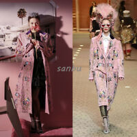 Women Winter Coat Long Jacket Runway Lapel Overcoat Embroidery Floral Fashion Sz