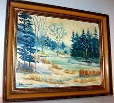 Original Vintage Painting Winter Landscape  Signed Edee Coleman  Oil on Masonite