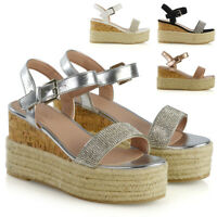 Womens Espadrille Platform Sandals Ladies Ankle Strap Peep Toe Wedge Heel Shoes