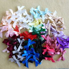 50 SMALL Ribbon Bows assorted colours Satin