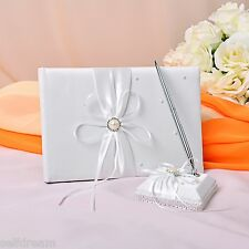 GB24b Ivory Ribbon Pearl Wedding Ceremony Satin Guest Book and Pen Set