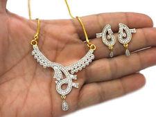 Diamond Mangalsutra Pendant Earring Set Superb Handmade Design Simulated Cubic