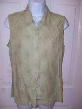 IZOD GOLF Sleeveless Button Down Green Print Women's Size 8 EUC