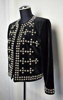 Double D Ranchwear Black Velvet Silver Studs Collarless Jacket - Women's XS