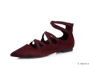 Marc Fisher Annabeth Stretch Ghillie Flat Pump Red Size 3/36 Brand New