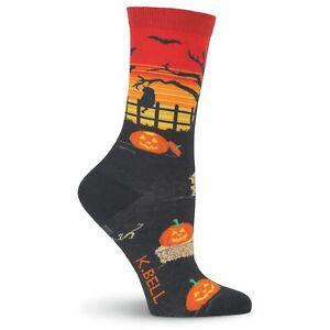 K.Bell Midnight Halloween Black Cats Ladies Crew Socks Black Orange Color New