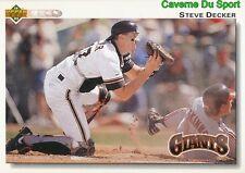 173 STEVE DECKER SAN FRANCISCO GIANTS BASEBALL CARD UPPER DECK 1992