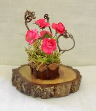 Fairy Garden Miniature DollHouse BRIGHT PINK ROSES /Pinecone Flower POT/ STUMP