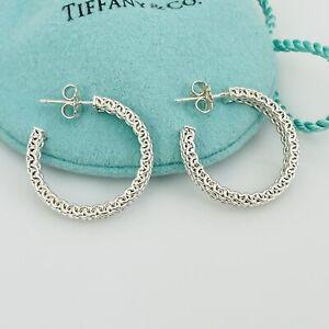 Tiffany & Co Sterling Silver Somerset Mesh Hoop Huggie Earrings