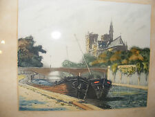 ANTIQUE ETCHING OF NOTRE DAME BY MARCEL HARANG, HAND COLOURED & SIGNED