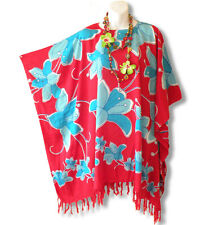 Red & Blue Plus Size Maternity Poncho Kaftan Tunic Blouse Top - XL, 1X, 2X & 3X