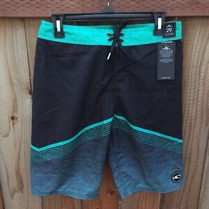 🌴 O'Neill NWT Men's Swim Trunks Shorts Size 29 Black/Green *Tiny Hole* See Pics