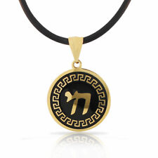Stainless Steel Gold-Tone Black Greek Key Jewish Chai Mens Boys Pendant Necklace
