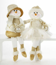 Set 2 Champagne Snowman & Snowgirl Couple Shelf Sitter Doll Delton Christmas New