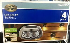 Hampton Bay Stainless Steel Outdoor Integrated LED Solar Step lights 4 Pack