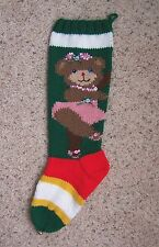 Nancy's Hand Knit Personalized Christmas Stocking -BALLERINA BEAR