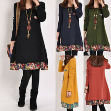 Women Winter Top Ladies Long Sleeve Floral Mini Dress Casual Loose Tunic Dress