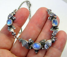 Estate Vintage Rare Mid Century Moonstone Sterling Silver Etched Leaves Necklace