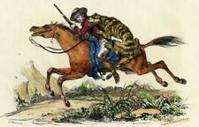 INDIA (Inde): RIDER attacked by a TIGER in the 19th Century - Colour engraving