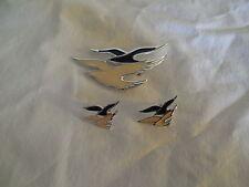 Enamel sea gull brooch & matching post earring set