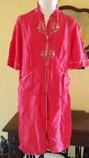 Vintage Asian / Oriental Robe made in Hong Kong 1950-60s short red embroidered