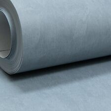 Plain Mid Grey Blue Paste the Wall Wallpaper Smooth Concrete Effect Free Match