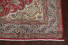 Semi-Antique Traditional Geometric Red 8X11 Tebriz Area Rug Hand-Knotted Carpet
