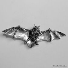 Flying Bat Pewter Brooch Pin - British Artisan Signed Badge - Vampire Halloween