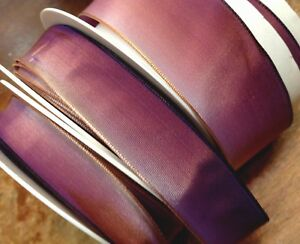 """Vintage Ribbon 5/8""""-7/8""""-1.5"""" Acetate Ombre Lilac Eggplant 1yd Made in France"""