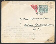 Czechoslovakia covers 1919 MI 2+MI 3 BISECTED!cover CHORNICE to Berlin