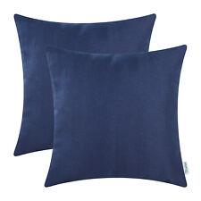 2Pcs Navy Blue Cushion Covers Pillows Faux Linen Chevron Striped Texture 45x45cm