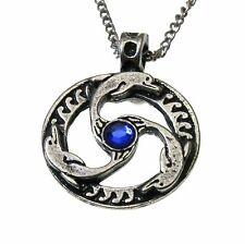 Nordic Lights Dolphin Triskilian Pendant Necklace Pewter Crystal Viking Celtic