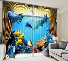 2 Panel Sea World Dolphin Window Curtains 3D Printing Blockout Drapes Fabric NEW