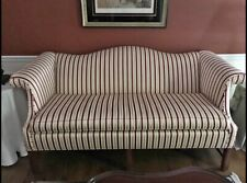 """72"""" CHIPPENDALE STYLE CAMEL BACK SOFA (GOLD&BURGUNDY STRIPED MODERN UPHOLSTERY )"""