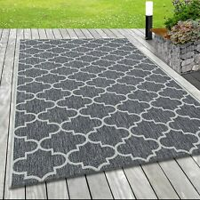 In- & Outdoor Flachgewebe Teppich Sisal Optik Marokkanisches Design in Grau