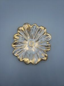 """Vintage Stangl Pottery Antique Gold Hand Painted Flower Dish Vanity Piece 6"""""""