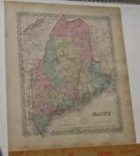 Original 1855 Colton's  Map of State of Maine Taken from Atlas