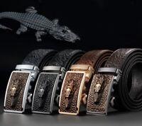 Men Leather Crocodile Emboss Ratchet Belt Automatic Buckle Waist Strap Waistband