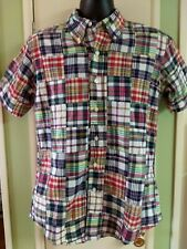 India Made Brooks Brothers Patchwork Quilt Plaid Checks Print S/S Shirt M