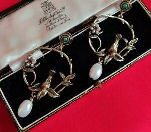 Vintage Art Nouveau Style Ornate Woodland Bird Earrings Jewellery Earring
