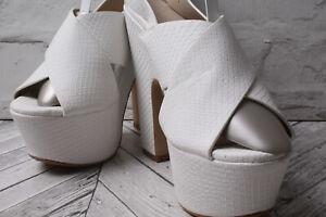 OFFICE Party High Heel Sandal Court Pump RRP £59 White Platform Summer Beach 3.5