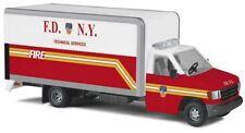 Busch 41856 - 1/87/h0 Ford e-350 - F.D.N.Y - pompiers new york-NEUF