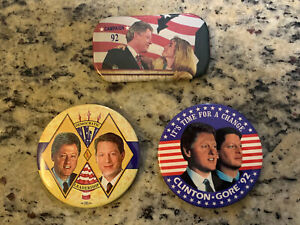 1992 Bill Clinton Large Size Campaign Buttons Lot of 3