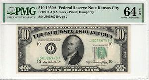 1950 A $10 FEDERAL RESERVE NOTE KANSAS CITY FR.2011-J PMG CH UNC 64 EPQ (749A)