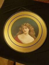 """Antique Vintage Flue Cover Original Victorian Lady Portrait Litho 8.5"""" W/ Chain"""