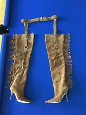 Dolce & Gabbana Suede Thigh High Fringe Stiletto Boots Garter Belt Size 38/8
