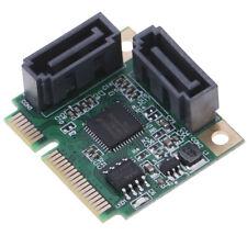 Mini PCI-E PCI express to SATA 3.0 converter hard drive extension card 2 port`#D