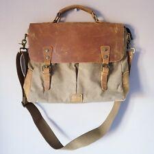 Gootium Distressed Vintage Brown Leather Canvas Shoulder Laptop Messenger Bag