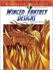 ADULT COLORING BOOK ~ WINGED FANTASY DESIGNS ~ REMOVEABLE PAGES 4 FRAMING ~ NEW