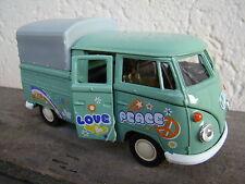 Volkswagen bus combi T1 double cabine pick-up love & peace ,11,5cm, vert , baché